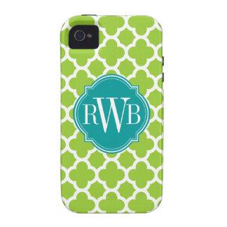 Monograma verde y blanco de Quatrefoil del modelo iPhone 4/4S Carcasa