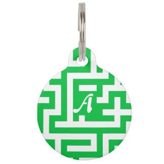 Monograma verde y blanco en colores pastel oscuro identificador para mascota