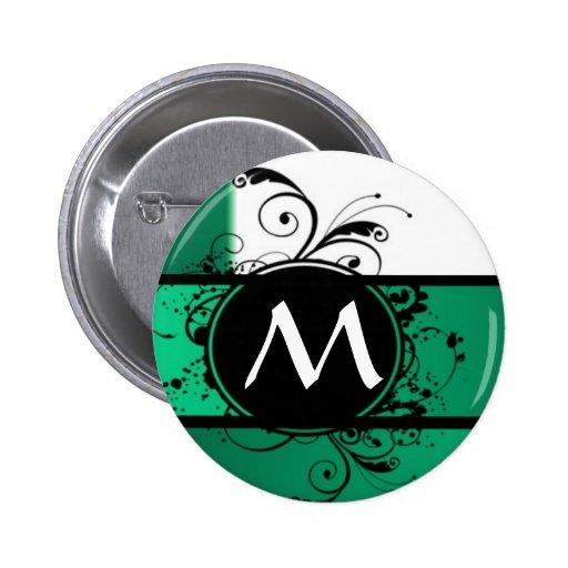 Monograma verde y blanco pin
