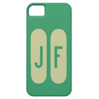 Monograma verde y caqui de plantilla de iPhone 5 carcasa