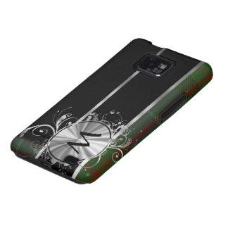 Monograma verde y negro de la tela escocesa de samsung galaxy s2 carcasas