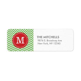 Monograma verde y rojo del personalizado de etiqueta de remite