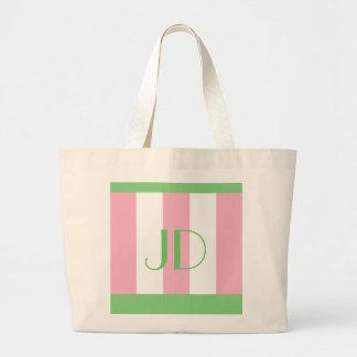 Monograma verde y rosado de la primavera fresca bolsas de mano