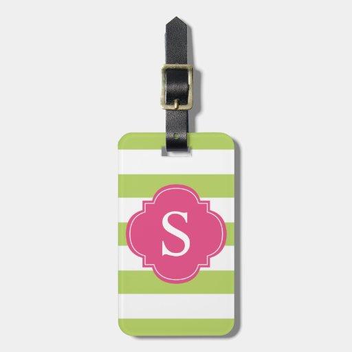 Monograma verde y rosado de las rayas etiquetas bolsa