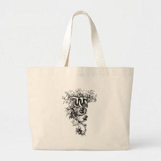 Monograma W con las flores del cardo Bolsa De Mano