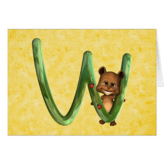 Monograma W de BabyBear Toon Tarjeta De Felicitación