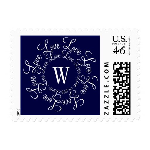 Monograma W del amor del boda de los azules marino Sello