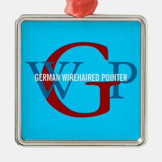 Monograma Wirehaired alemán del indicador Adorno Navideño Cuadrado De Metal