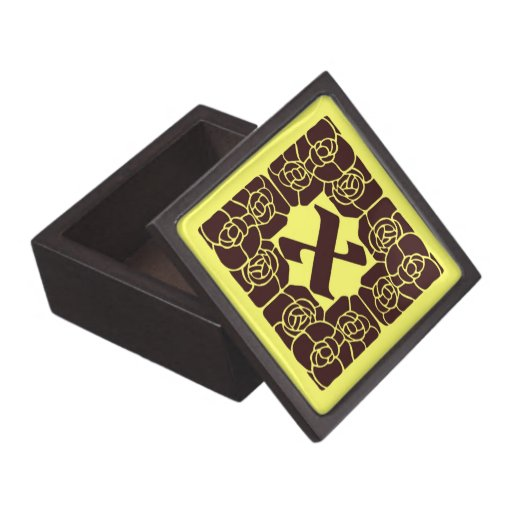 Monograma X del nouveau del arte con la frontera f Caja De Regalo De Calidad