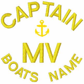 Monograma y ancla del capitán del barco sudadera bordada con capucha