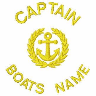 Monograma y ancla personalizados del capitán del sudadera bordada con cremallera