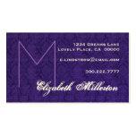 Monograma y damasco púrpuras personales tarjeta de negocio