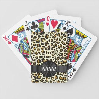 Monograma y estampado leopardo baraja de cartas bicycle