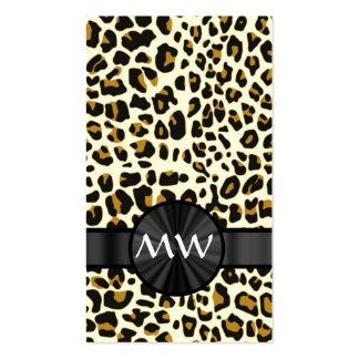 Monograma y estampado leopardo tarjetas de visita