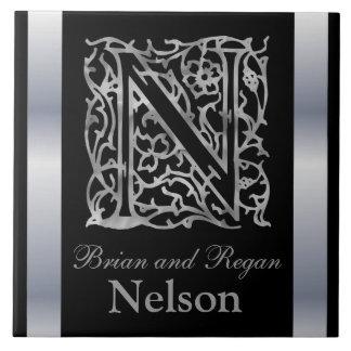 """Monograma y nombre """"Besque de N en"""" la baldosa cer Azulejo Cuadrado Grande"""