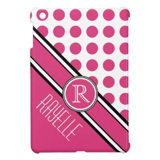 Monograma y nombre diagonales rosados de Polkadot iPad Mini Cárcasas