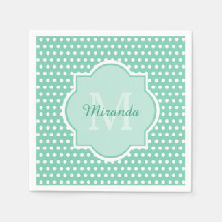 Monograma y nombre elegantes de la verde menta de servilletas de papel