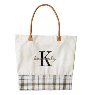 Monograma y nombre personalizados bolsa tote zazzle HEART