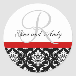 Monograma y pegatina rojo del boda del damasco de