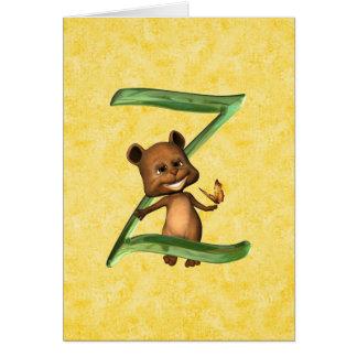 Monograma Z de BabyBear Toon Tarjeta De Felicitación