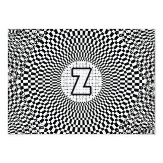 """Monograma Z de la ilusión óptica Invitación 5"""" X 7"""""""