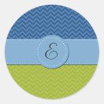 Monograma - zigzag (Chevron) - azulverde