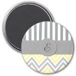Monograma - zigzag (Chevron) - blanco gris Imán De Frigorífico
