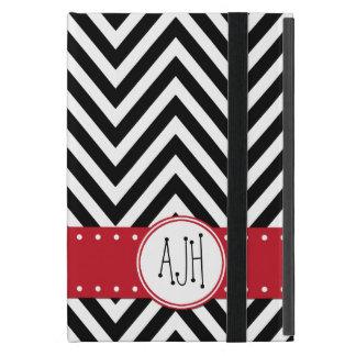 Monograma - zigzag (Chevron) - rojo negro blanco iPad Mini Coberturas