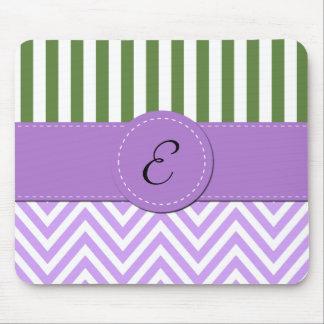 Monograma - zigzag (Chevron) - verde púrpura Alfombrillas De Raton