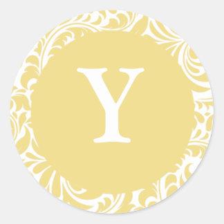 Monogramas antiguos del boda del diseñador del oro pegatina redonda