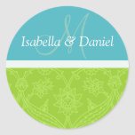 Monogramas azules y verdes de novia y del novio pegatinas