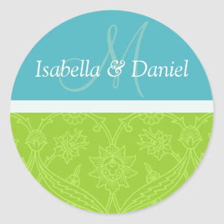 Monogramas azules y verdes de novia y del novio pegatina redonda