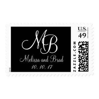 Monogramas blancos y negros que casan franqueo sellos postales