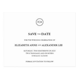 Monogramas clásicos reserva negra y del blanco la  tarjeta postal
