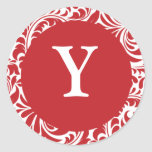 Monogramas de encargo blancos rojos Invi del boda Pegatina Redonda