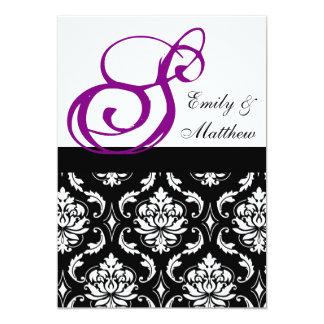 Monogramas de la púrpura de las invitaciones del invitación 12,7 x 17,8 cm