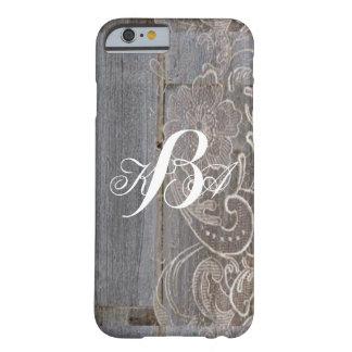 monogramas de madera del país occidental del funda para iPhone 6 barely there