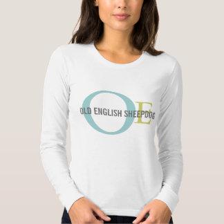 Monogramas del perro pastor/camisa ingleses viejos remera