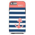 Monogramas elegantes del ancla en tiras coralinas funda de iPhone 6 tough