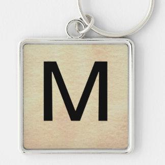 Monogramas elegantes simples - CricketDiane Llavero Cuadrado Plateado