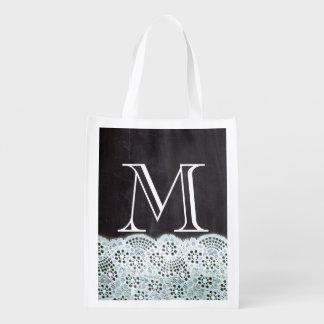 monogramas franceses femeninos de la pizarra del bolsa reutilizable
