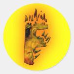 Monogramas: Fuegos artificiales F Etiqueta Redonda