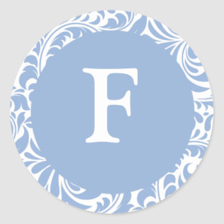 Monogramas Invitatio del boda de los azules claros Pegatina Redonda