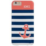Monogramas lindos del ancla en tiras coralinas de funda de iPhone 6 plus barely there