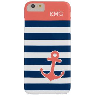 Monogramas lindos del ancla en tiras coralinas de funda para iPhone 6 plus barely there