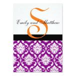 Monogramas púrpuras del naranja de las invitación 12,7 x 17,8 cm