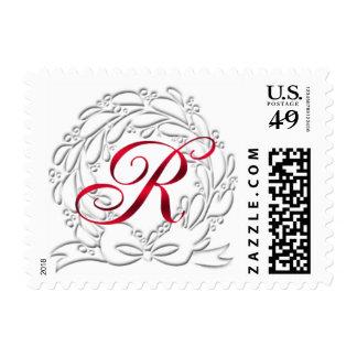 Monogramas rojos del franqueo R de la guirnalda Sellos