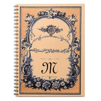 Monogramed adaptable elegante libros de apuntes