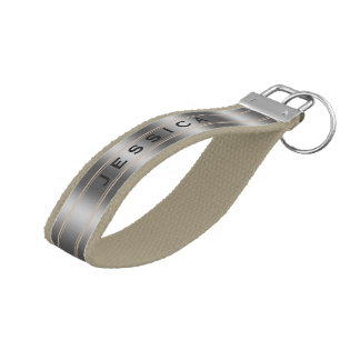 Monogramed Beige And Silver Gray Stripes Pattern Wrist Keychain