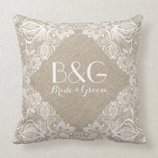Monogramed Beige Linen And White Lace Frame 1a Pillows